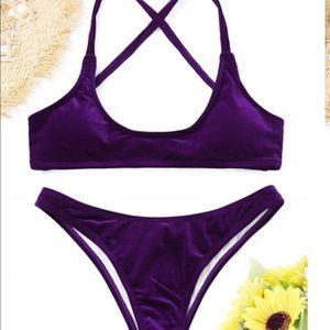 High leg, purple velvet two piece. NWT.